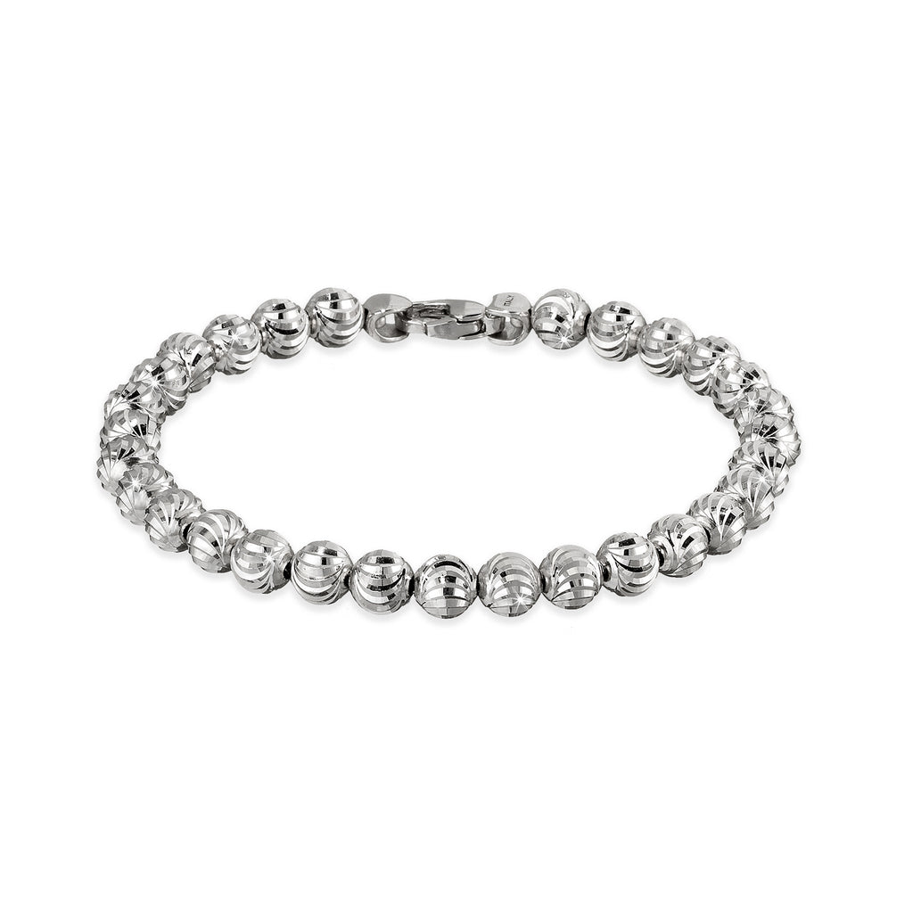 Italian collection from Officina Bernardi  High precision diamond cut 3.00 mm bead  Rhodium coated   Secured lobster clasp
