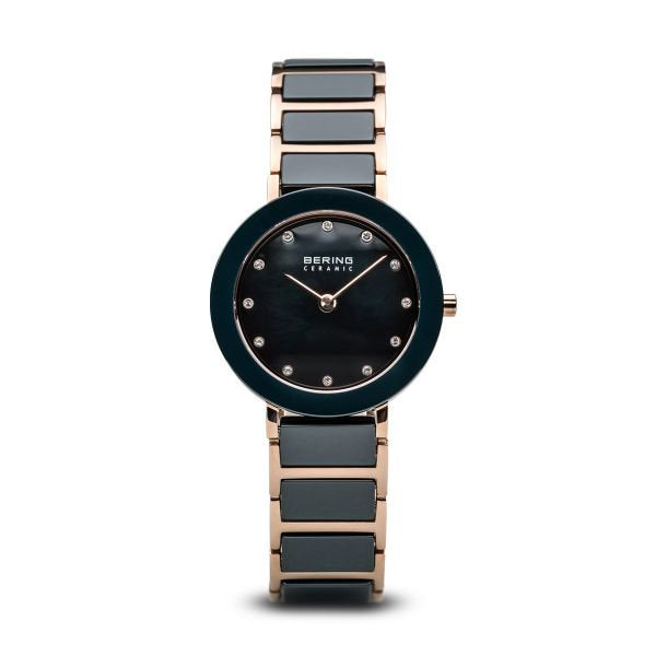 Ceramic polished rose gold watch