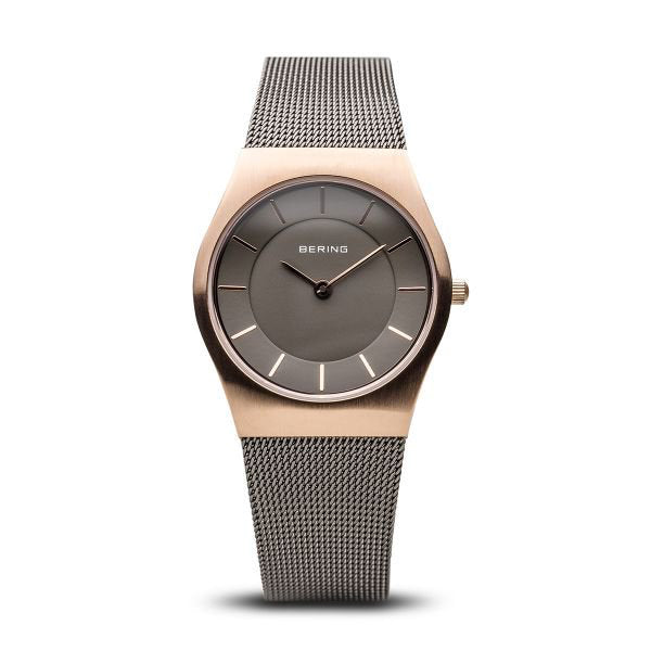 Classic brushed rose gold watch