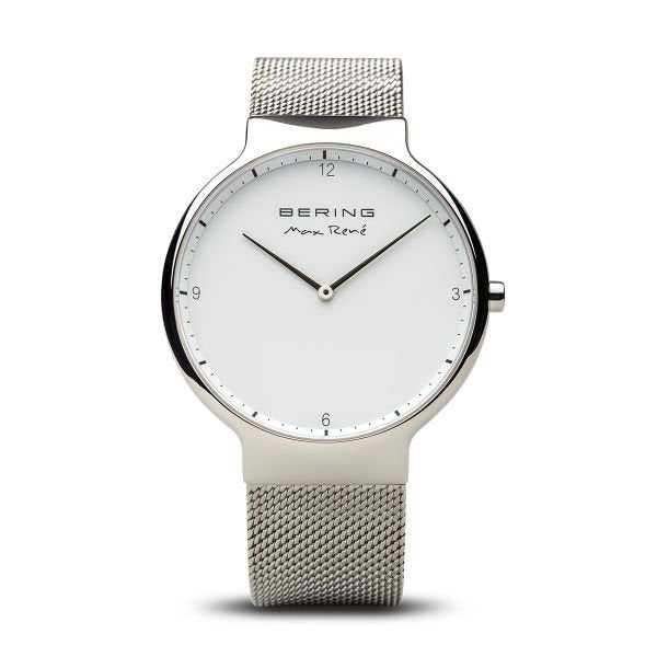 Max René polished silver watch