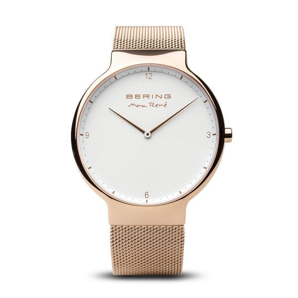 Max René polished rose gold watch
