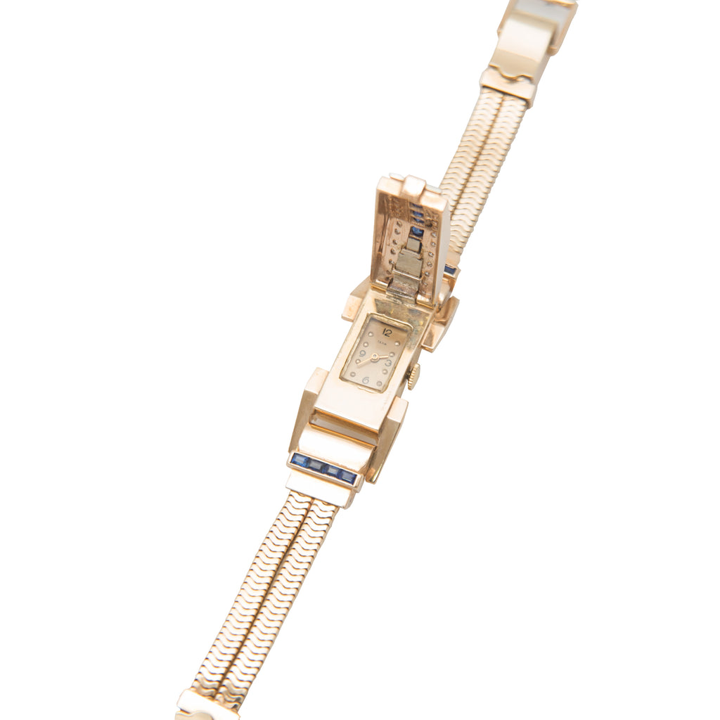 Ladies 14k covered cocktail watch with sapphires and diamonds