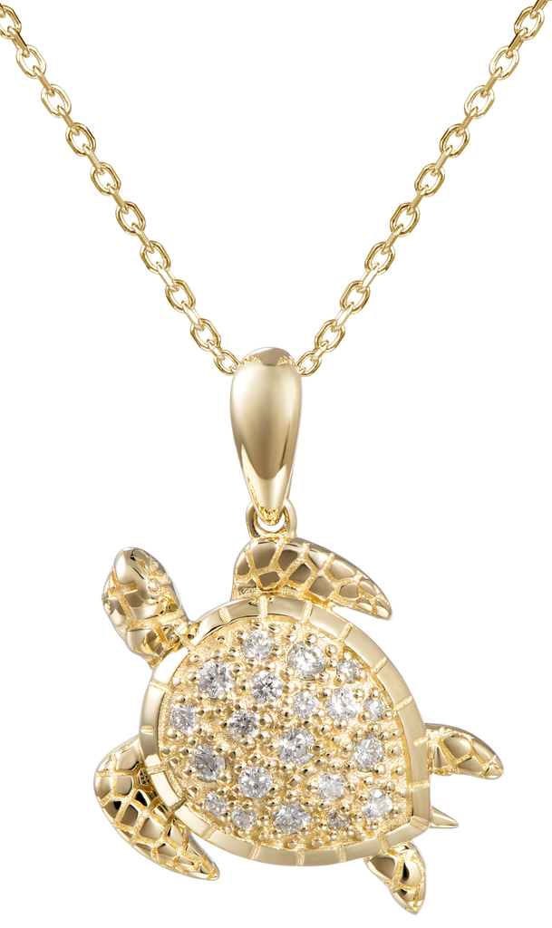 Beautiful Honu pendant.  14k yellow gold  Secure bail.  Round diamonds 0.17 cts  22.00 mm length.  1.1 mm gold chain available (optional, not included in price) $199.00