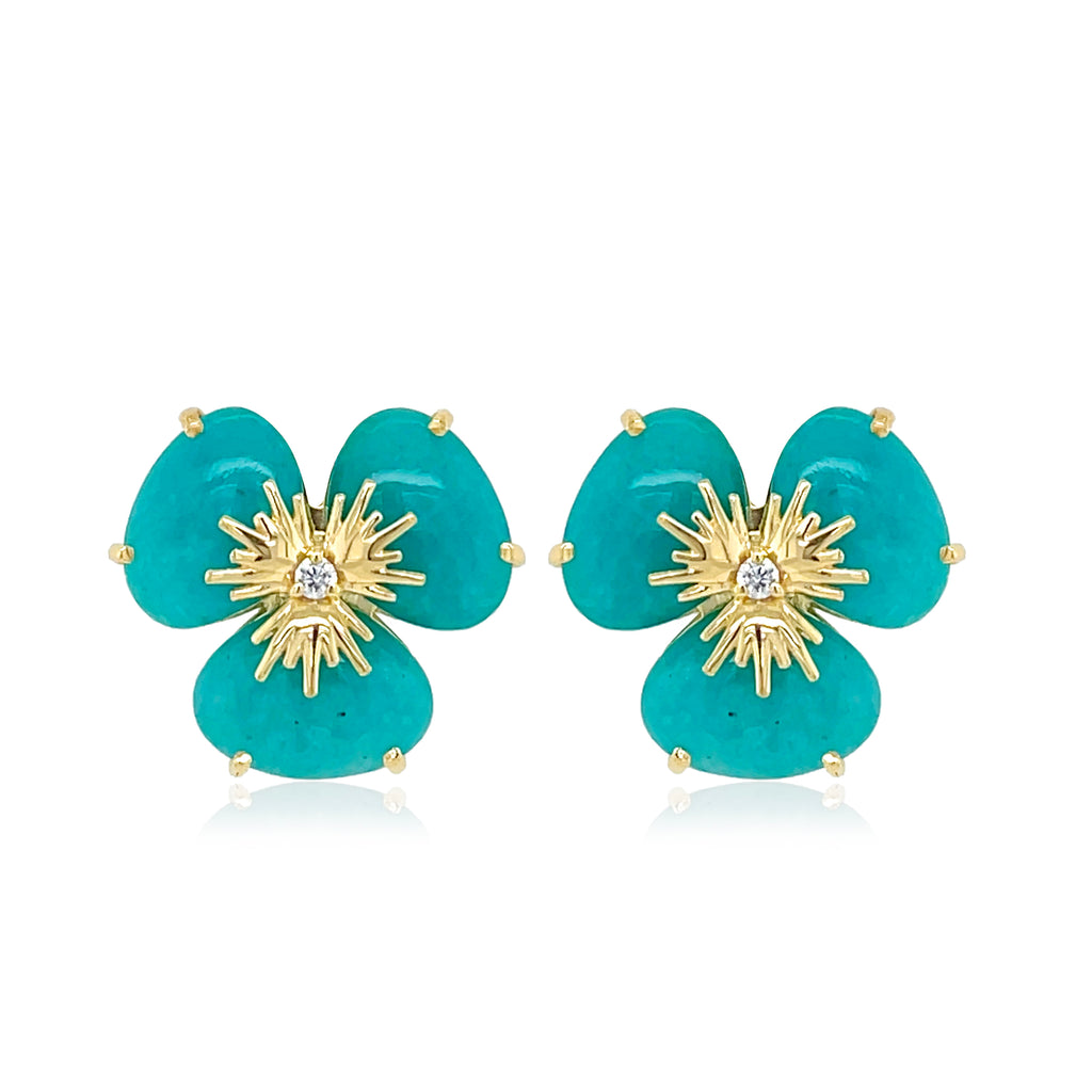 Pensée collection made in Brazil  Pensée earrings are inspired in Pansy flowers.  Amazonite gem  Two small diamonds   Set in 18k yellow gold  Secure & comfortable friction backs  12.50 mm