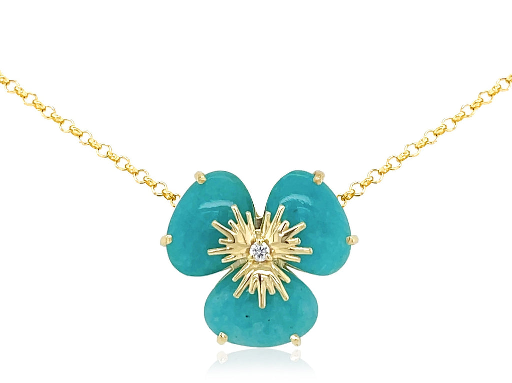"Pensée collection made in Brazil  Pensée earrings are inspired in Pansy flowers  Amazonite gems  Two small diamonds   Set in 18k yellow gold  18"" long with sizing loop at 16""  Secure lobster clasp.  17.50 mm flower."