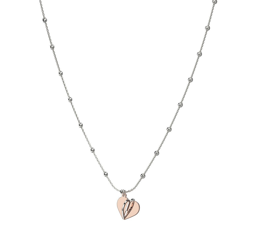 "Italian collection from Officina Bernardi  16"" long  3D rose gold plated heart 1/4"" long  Rhodium coated chain  High-precision diamond cut silver beads  2"" sizing extension"