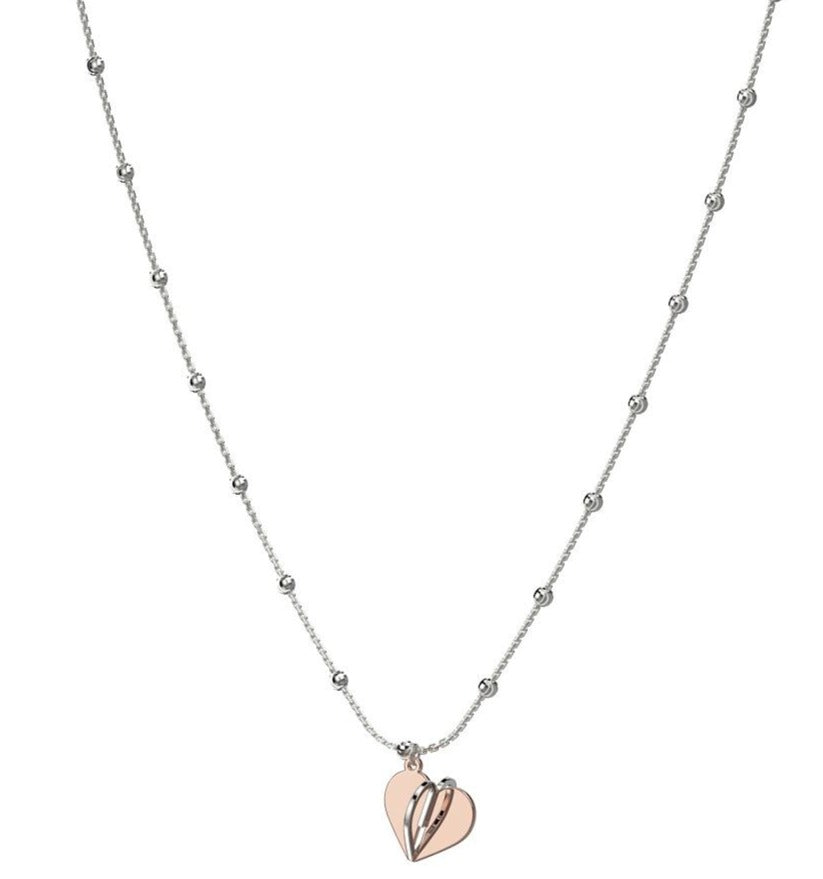 Sterling Silver rosegold tone large heart long necklace