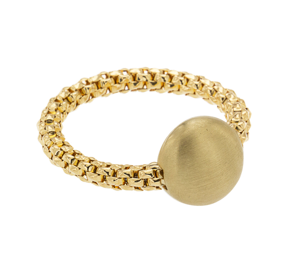 From our Stella Millano Italian Jewelry  18k Italian Yellow  Gold  One Size Fits All  Bon Bon collection  One solid bead 10 mm matte finish  Flexible ring