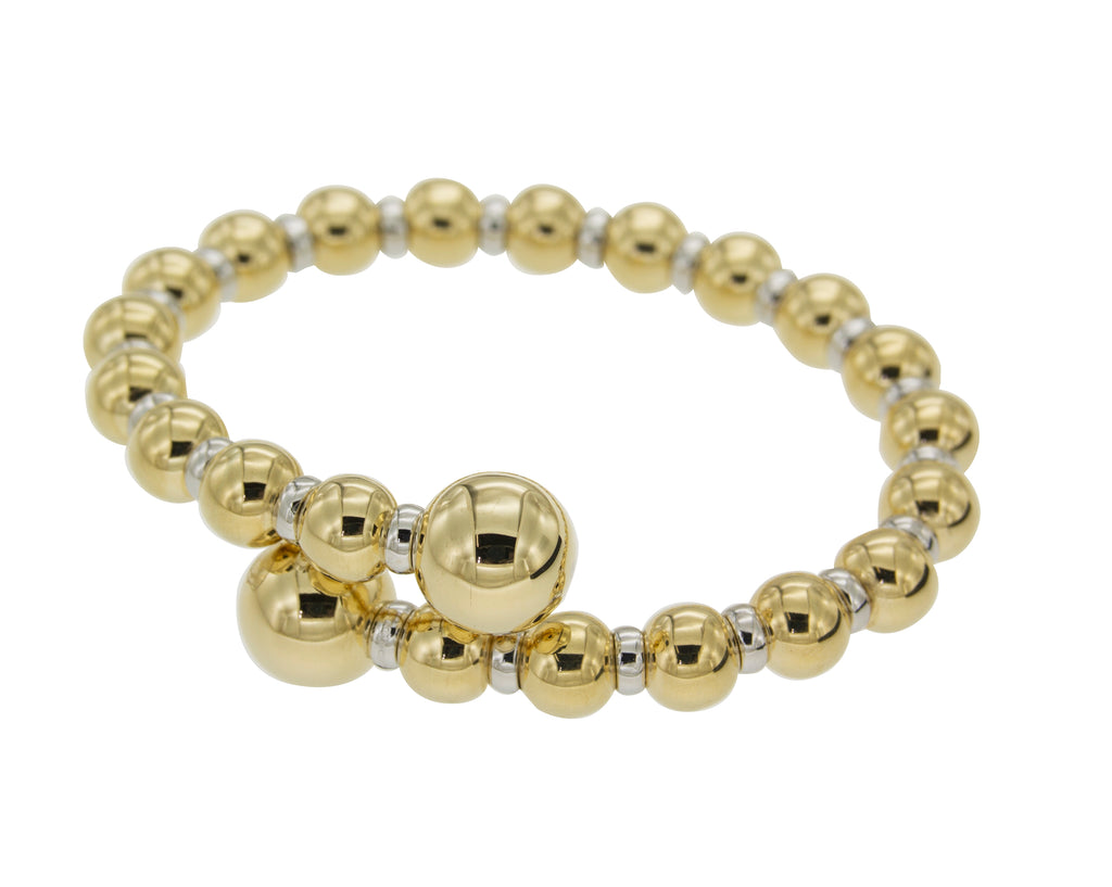 18k yellow gold bead cuff bracelet