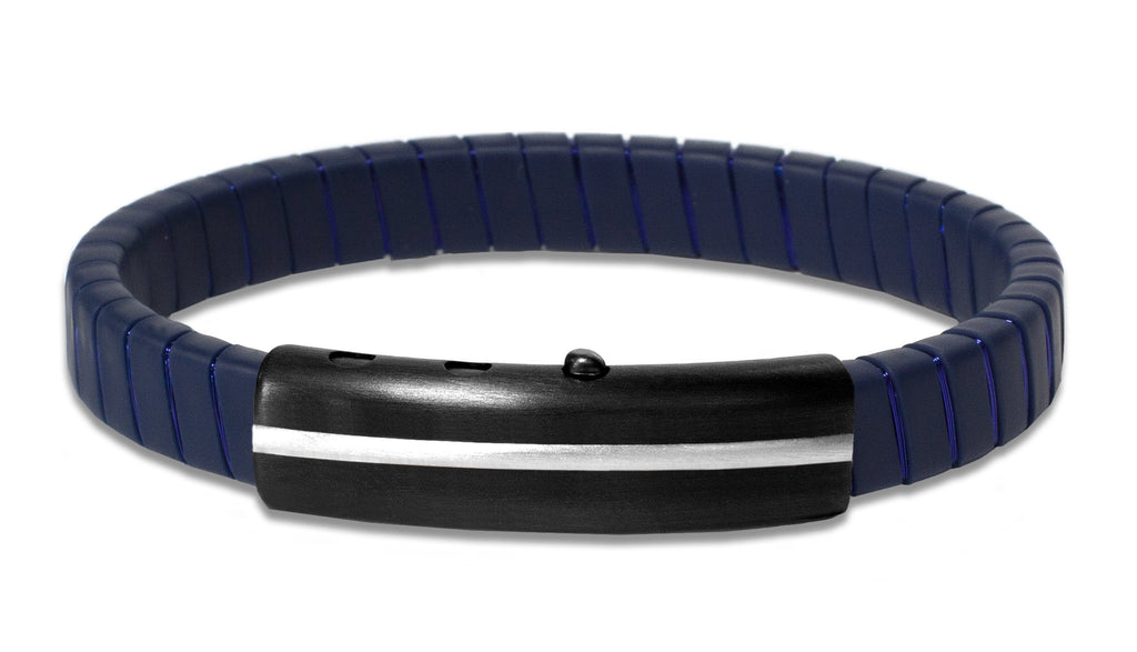 "This bracelet creates a unique style  Strip of blue synthetic rubber   Stainless steel adjustable clasp  8"" long  Blue copper wire"