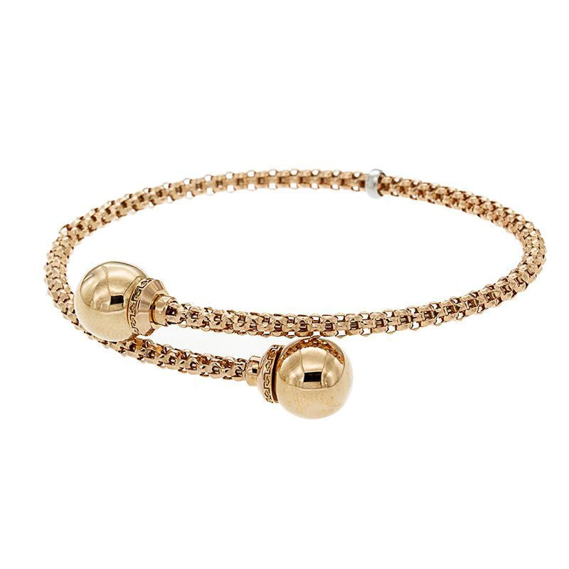 From our Stella Milano Collection 18k Italian rose gold  One size fits all Flexible cuff Contemporary gritty chain 3.00 mm x 9.75 mm (each sphere)