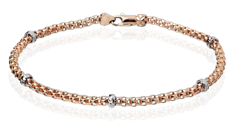 From our Stella Millano Italian Jewelry  18k Italian white & rose gold  One Size Fits All  Rockstar collection  5 solid rondel    Mesh style  Secure lobster clasp.