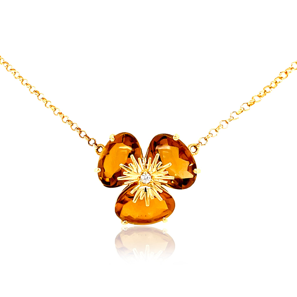 "Pensée collection made in Brazil  Pensée earrings are inspired in Pansy flowers  Citrine  Two small diamonds   Set in 18k yellow gold  18"" long with sizing loop at 16""  Secure lobster clasp.  17.50 mm flower."