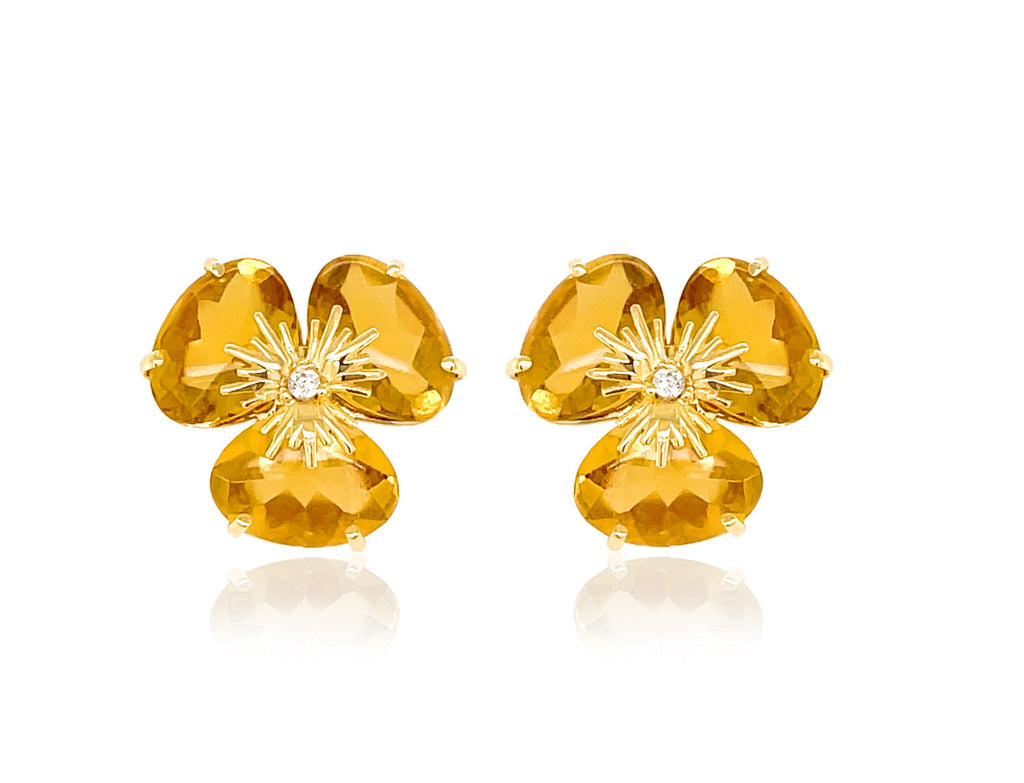 Pensée collection made in Brazil  Pensée earrings are inspired in Pansy flowers.  Yellow Citrine  Set in 18k yellow gold  Secure & comfortable friction backs  12.50 mm