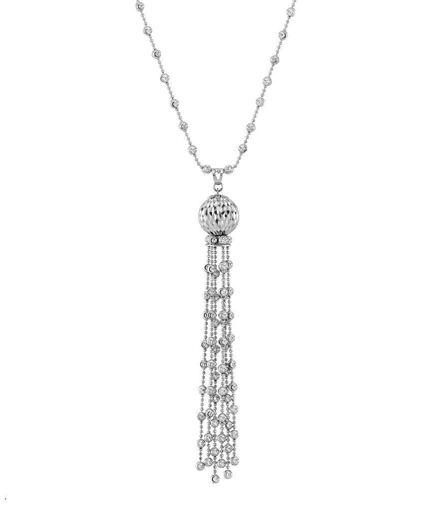 "Italian collection from Officina Bernardi 30"" long Rhodium coated High precision diamond cut 3.00 mm beads"