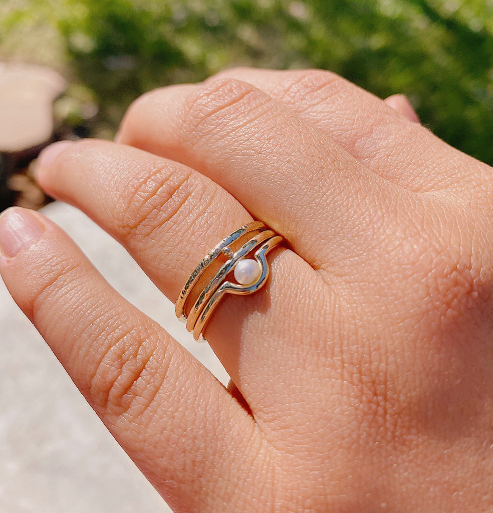 Stackable dainty curved ring