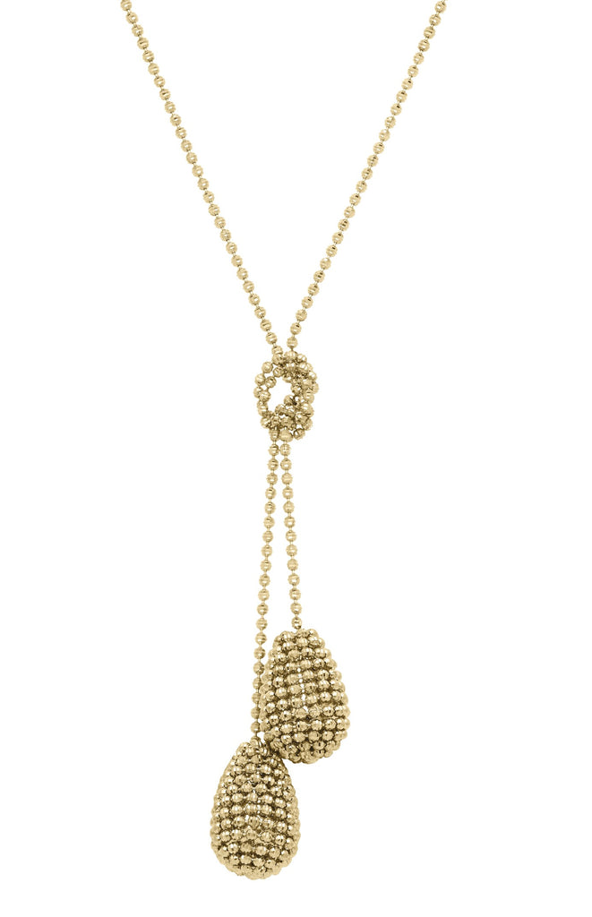 "Italian collection by Officina Bernardi 24k Goldplated necklace High precision diamond cut beads 24"" long"