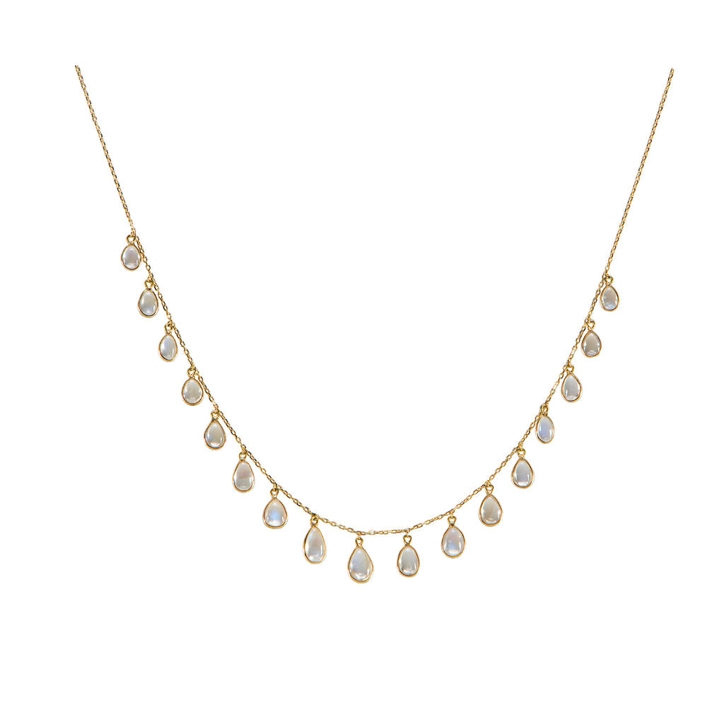 "Cabochon moonstone necklace   Set in 18k yellow gold  18"" long with sizeable loop at 16"""