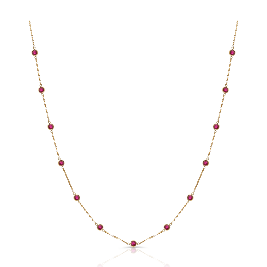 "13 facet rubies gems set in 18k yellow gold  Secure clasp  18"" long with sizing loop at 16"""