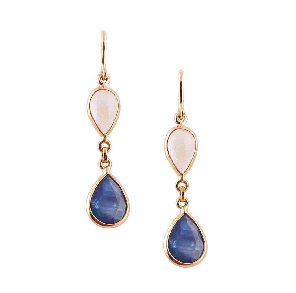 Pear shape sapphire & moonstone drop earrings set in 18k yellow gold  kidney wire setting  26 mm long x 8 mm wide