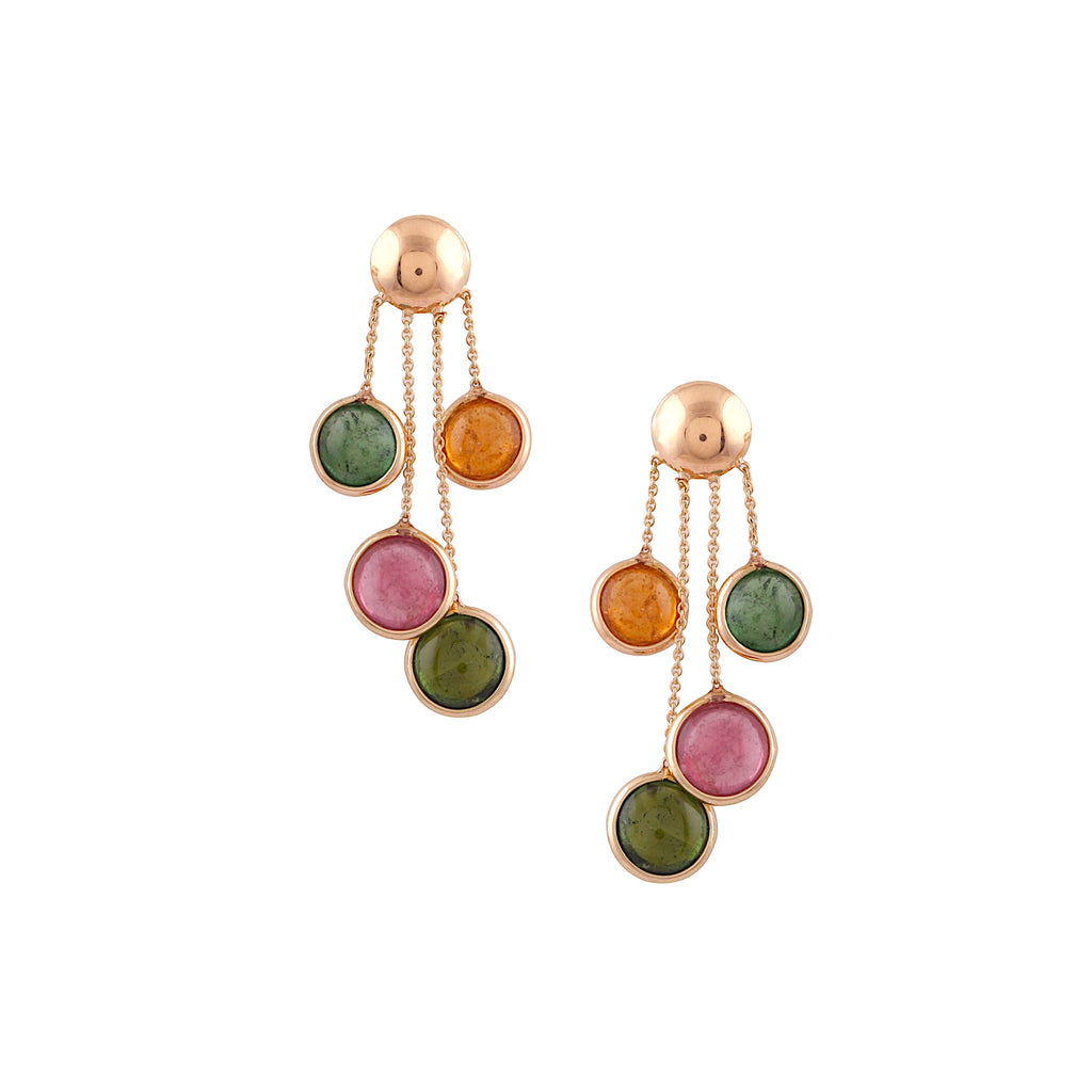 Round multi-color cabochon tourmaline drop earrings set in 18k yellow gold  Secure friction back  34.00 mm long x 6.30 mm gem size