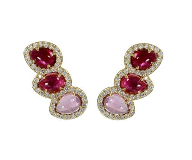 From our Vianna Brasil collection  Three shades of pink cabochon tourmaline 6.00 cts   25.00 long  1.06 cts diamonds  18k yellow gold drop earrings with secure friction backs