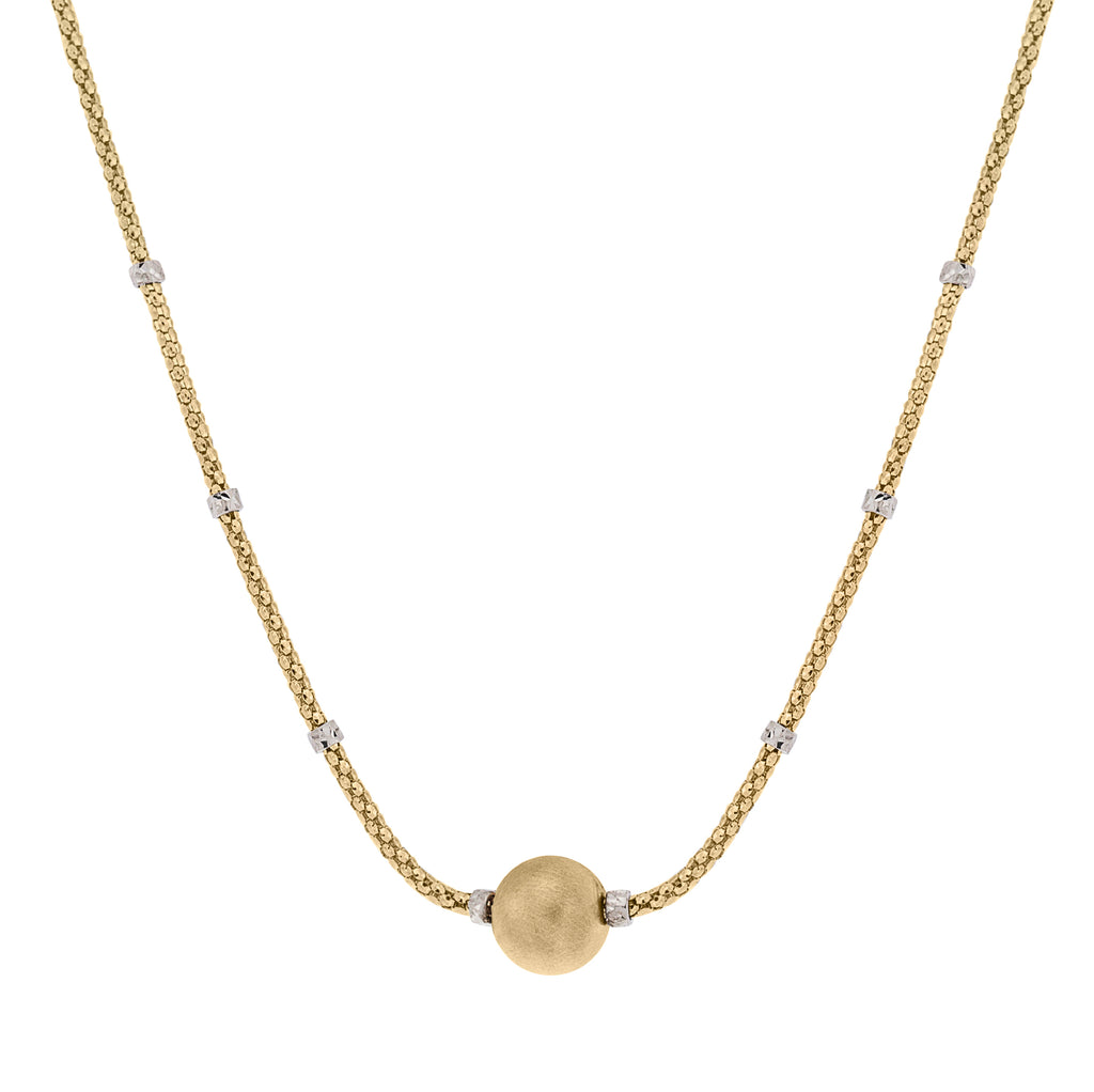 "Italian made necklace From the Galileo collection 18y yellow & white gold Secured lobster clasp 18"" long 9.80 mm sphere diameter with brushed finish"
