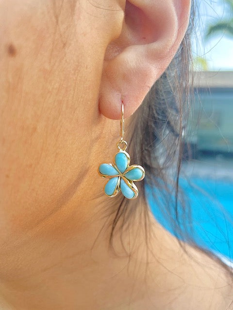 14k yellow gold.  Lever back system.  Rare Larimar stone  34.00 mm length.