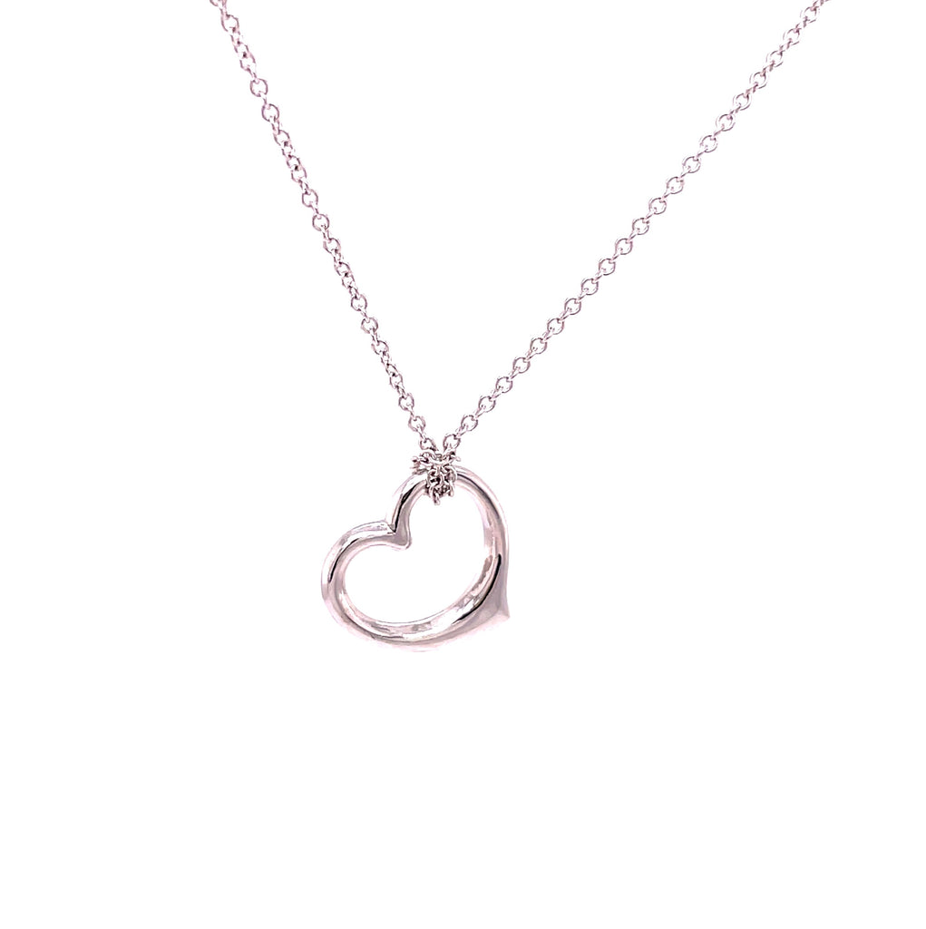 14k White Gold Small Open Heart Pendant Necklace