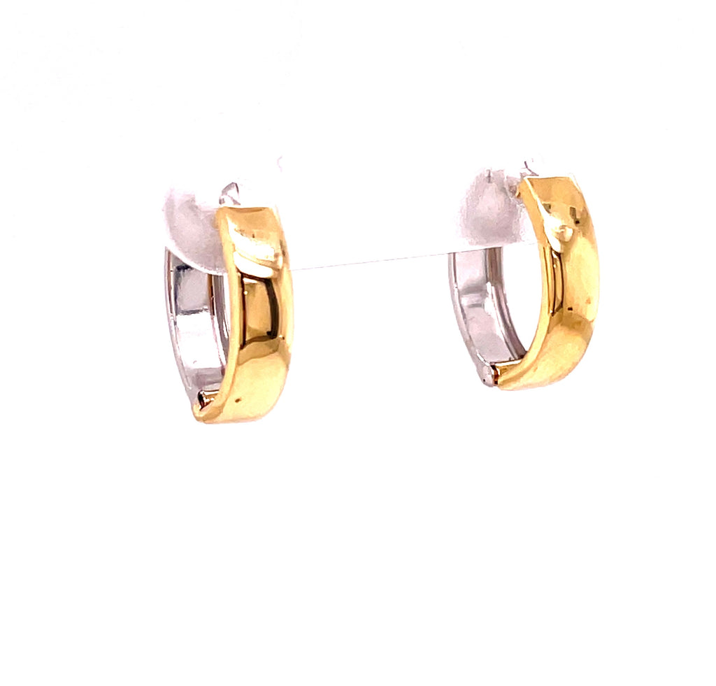 Huggie earrings  Set in 14 yellow & white gold  Easy to wear  Secure latch system  12.00 mm
