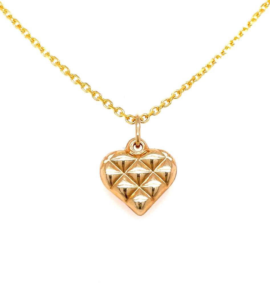 "14k yellow gold.  Italian made  Heart shape  Secure bail  16.00 mm length (including bail)   16"" long chain ($199 optional)"