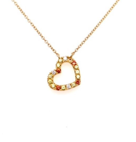 "18k yellow gold cut out heart shape pendant.  Three round diamonds 0.04 cts.  Sapphires 0.31 cts  Secure lobster clasp  Slide system  18"" white gold chain."