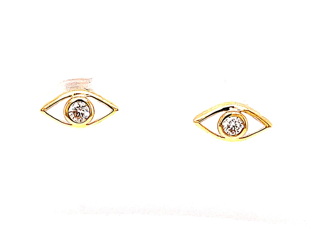 Set in 18k yellow gold  Two small round diamonds 0.11 cts  Secure friction backs  White enamel.