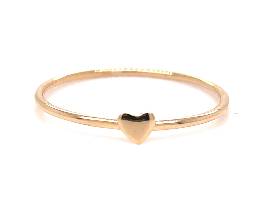14k yellow gold ring  Small heart 2.00 mm.  Size 7 (sizable)  Easy to stack