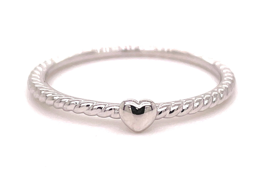 14k white gold ring  Small heart 1.60 mm.  Size 7 (sizable)  Twisted wire  Easy to stack