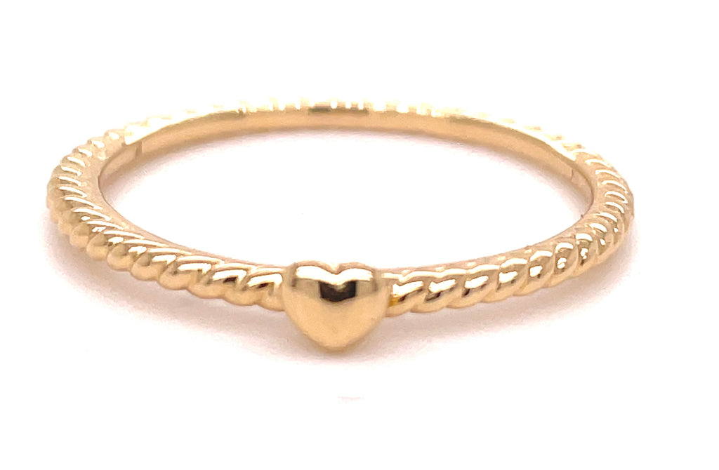 14k yellow gold ring  Small heart 1.60 mm.  Size 7 (sizable)  Twisted wire  Easy to stack