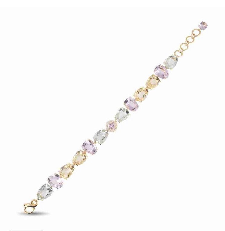 "18k yellow gold  Secure lobster clasp and 0.5"" extension for sizing 8"" long x 10.00 mm wide Pink amethyst, yellow light citrine & praziolite 11.60cts and round diamonds 0.13 cts"