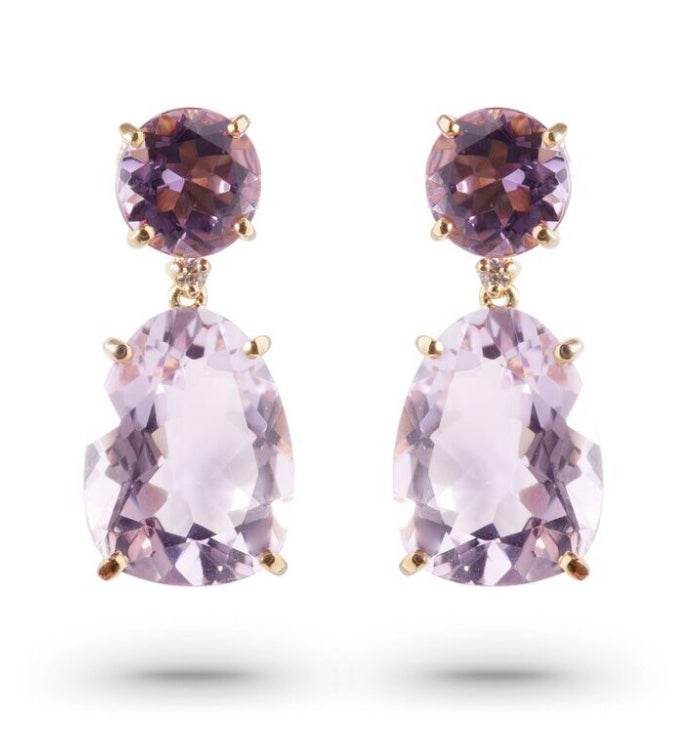 From our Vianna Brasil collection  18k yellow gold drop earrings with secure friction back   23.00 mm long x 10.00 wide   Amethyst, rhodolite & round diamonds 0.10 cts