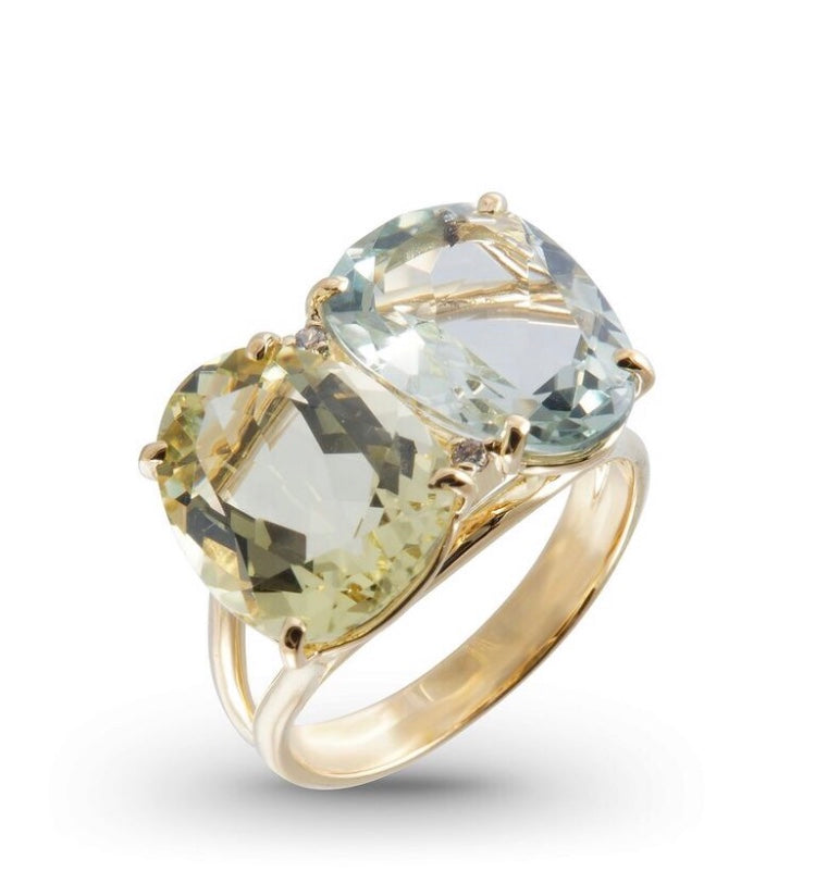 From our Vianna Brasil Collection 18k yellow gold  6.5 size (sizeable) Green gold quartz, praziolite & round diamonds 0.02 cts 13.50 mm wide