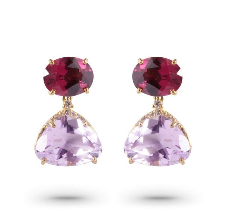 From our Vianna Brasil collection Amethyst & rhodolite 10.02 cts and round diamonds 0.10 cts 19.88 mm x 12 mm wide 18k yellow gold drop earrings with secure friction backs