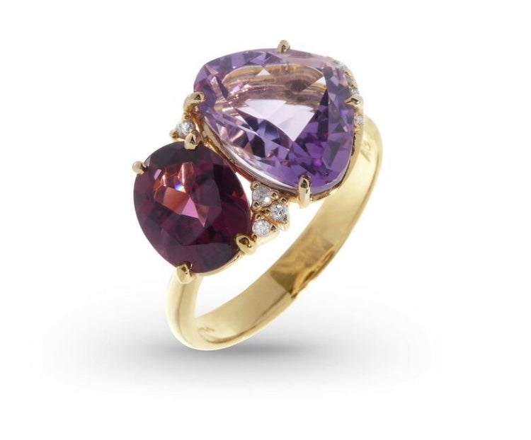 From our Vianna Brasil collection 18k yellow gold 7.0 size (sizable) Amethyst & rhodolite 5.01 cts & round diamonds 0.07 cts 13.00 mm wide