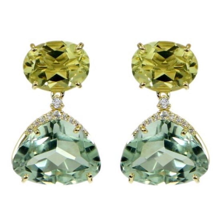 From Vianna Brasil collection Green gold quartz & praziolite  10.20 cts and round diamonds 0.10cts 19.88 mm x 12mm wide  18k yellow gold drop earrings with secure friction backs