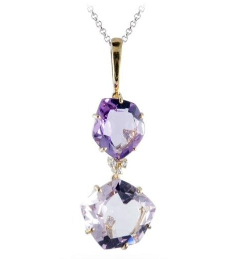 "From our Vianna Brasil collection  Amethyst, pink amethyst and round diamonds   Basket setting   18k yellow gold drop earrings with secure friction backs   18"" long yellow gold chain (optional $230.00)  2"" long"