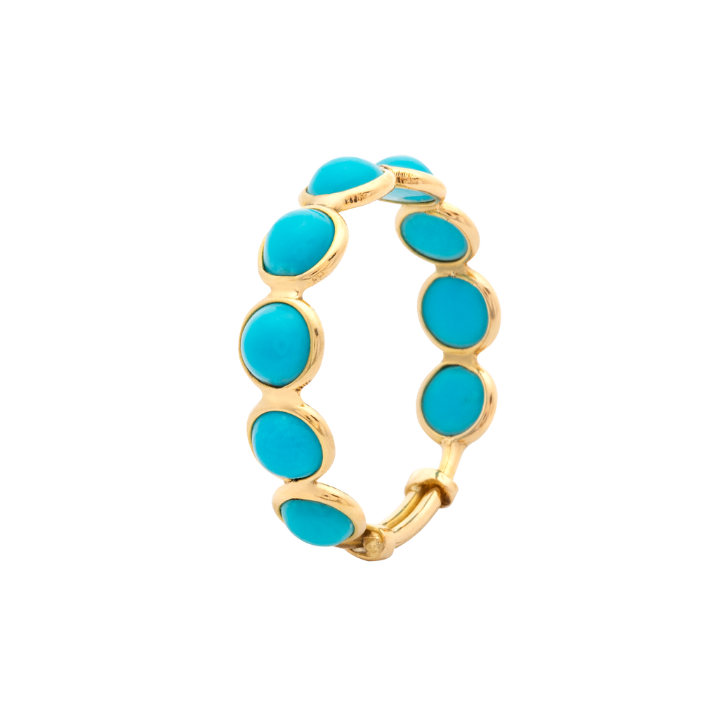 Round cabochon shape turquoise stackable ring  Set in 18k yellow gold  Adjustable shank  Size 7-9  5.75 mm gem size