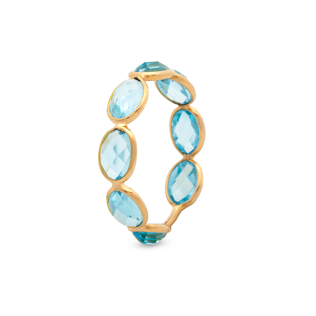 Facet Oval Blue Topaz Stackable Ring