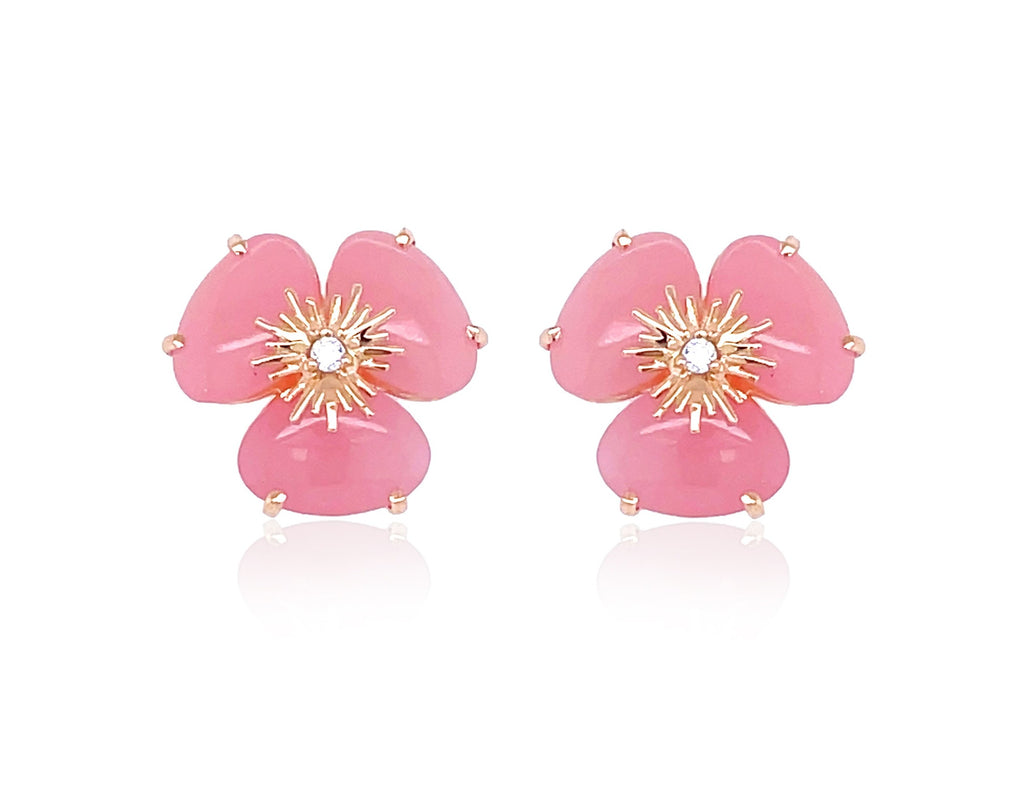 Pensée collection made in Brazil Pensée earrings are inspired in Pansy flowers.  Malva quartz  Set in 18k rose gold  Secure & comfortable friction backs  12.50 mm