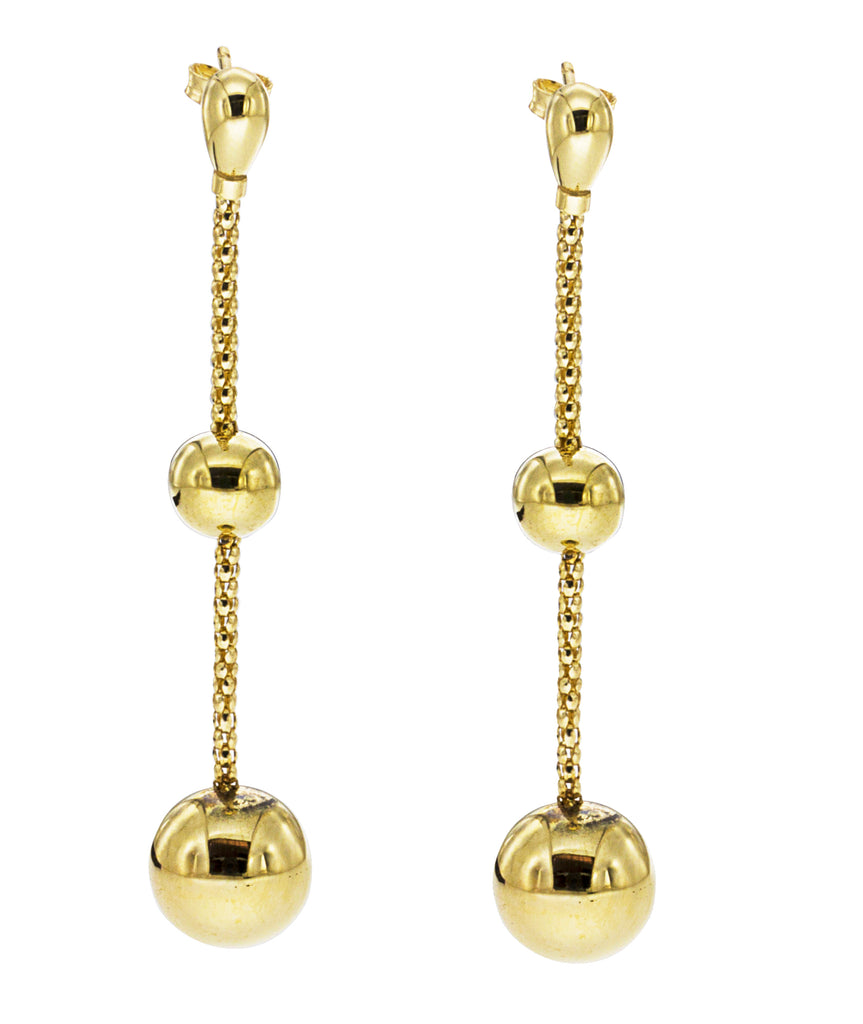 "From our Stella Milano Collection 18k Italian yellow gold Polished finish Secure friction backs 2 "" long x 11.88 mm (sphere) x 7.85 mm (sphere) Contemporary gritty chain"