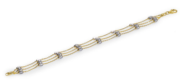 "Italian collection from Officina Bernardi 24k gold-plated & rhodium coated 3 row high precision diamond cut bracelet 1"" extension  Secure lobster clasp"