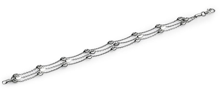 "Italian collection from Officina Bernardi Rhodium coated 3 row high precision diamond cut bracelet 1"" extension  Secure lobster clasp"