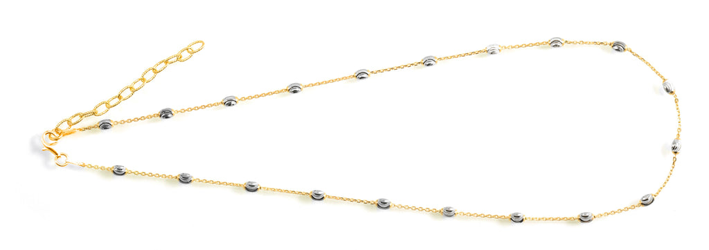 "Italian collection from Officina Bernardi 34"" long Secure lobster catch 2"" sizing extension 24k gold-plated & rhodium coated  High precision diamond cut beads"